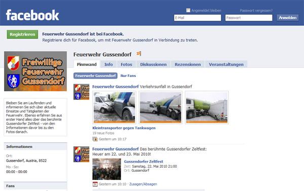 Die Facebook-Seite der Feuerwehr Gussendorf