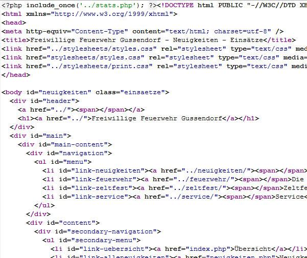Einige Zeilen Quellcode aus einer Einsätze-Seite
