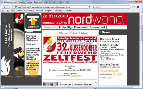 Die erste Website der FF Gussendorf: Stand Pfingsten 2009, kurz vor der Einführung der neun Site